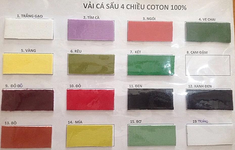 Bảng màu vải cá sấu 4 chiều 100% cotton
